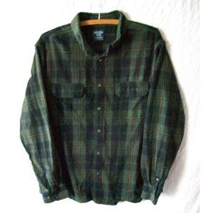 Faded Glory Green/Black/Brown Plaid Flannel